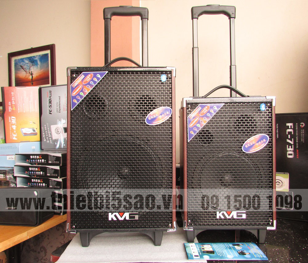 Loa vali kéo KVG A130-Q10S Audio 2.0 (300W, Bluetooth, USB, thẻ nhớ, Guitar IN, Out) da Nâu, Bass trầm