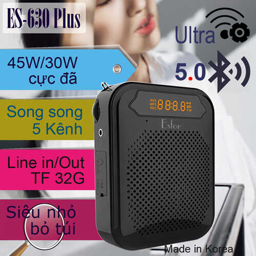 Máy trợ giảng Hàn Quốc ESFOR ES-630 Plus 45W Bluetooth 5.0 Line out 5 kênh song song